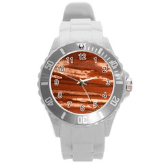 Red Earth Natural Round Plastic Sport Watch (l) by UniqueCre8ion
