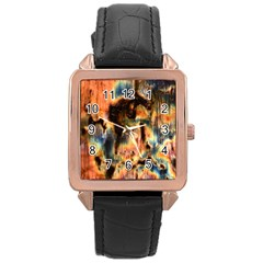 Naturally True Colors  Rose Gold Leather Watch  by UniqueCre8ions