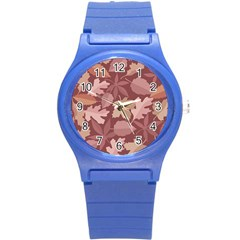 Marsala Leaves Pattern Round Plastic Sport Watch (s) by sifis