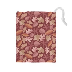 Marsala Leaves Pattern Drawstring Pouches (large)  by sifis