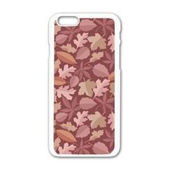 Marsala Leaves Pattern Apple Iphone 6/6s White Enamel Case by sifis