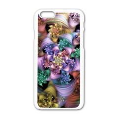 Bright Taffy Spiral Apple Iphone 6/6s White Enamel Case by WolfepawFractals