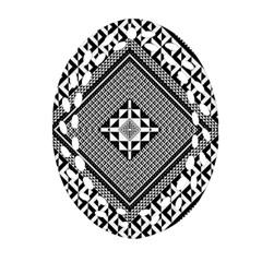 Geometric Pattern Vector Illustration Myxk9m   Oval Filigree Ornament (2 Side)  by dsgbrand