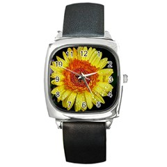 Yellow Flower Close Up Square Metal Watch by MichaelMoriartyPhotography