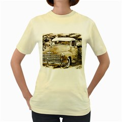 Vintage Chevrolet Pick Up Truck Women s Yellow T Shirt by MichaelMoriartyPhotography