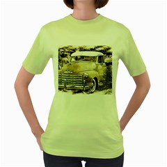 Vintage Chevrolet Pick Up Truck Women s Green T Shirt by MichaelMoriartyPhotography