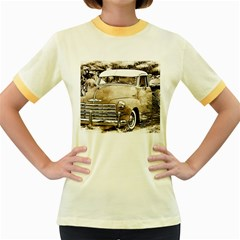 Vintage Chevrolet Pick Up Truck Women s Fitted Ringer T Shirts by MichaelMoriartyPhotography