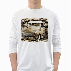 Vintage Chevrolet Pick Up Truck White Long Sleeve T Shirts by MichaelMoriartyPhotography