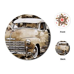 Vintage Chevrolet Pick up Truck Playing Cards (Round)  by MichaelMoriartyPhotography