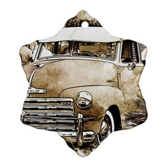 Vintage Chevrolet Pick Up Truck Snowflake Ornament (2 Side) by MichaelMoriartyPhotography