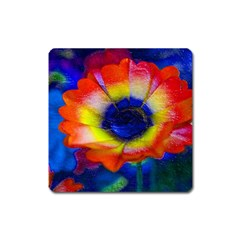 Tie Dye Flower Square Magnet by MichaelMoriartyPhotography
