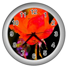 Red Beauty Wall Clocks (silver)  by MichaelMoriartyPhotography