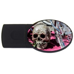 Skull And Bike Usb Flash Drive Oval (4 Gb)  by MichaelMoriartyPhotography