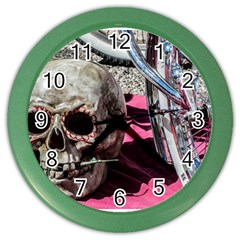 Skull and Bike Color Wall Clocks by MichaelMoriartyPhotography