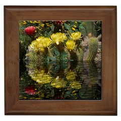 Cactus Flowers with Reflection Pool Framed Tiles by MichaelMoriartyPhotography