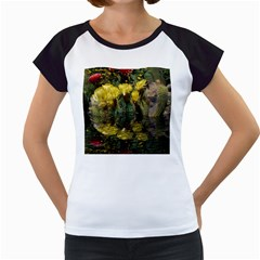 Cactus Flowers With Reflection Pool Women s Cap Sleeve T by MichaelMoriartyPhotography