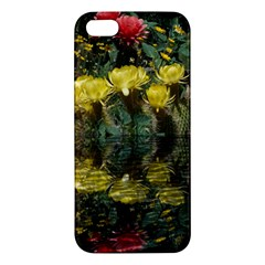 Cactus Flowers With Reflection Pool Apple Iphone 5 Premium Hardshell Case by MichaelMoriartyPhotography