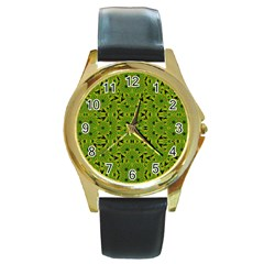 Geometric African Print Round Gold Metal Watch by dflcprints