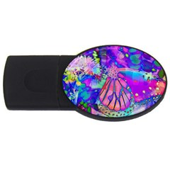 Psychedelic Butterfly USB Flash Drive Oval (1 GB)  by MichaelMoriartyPhotography