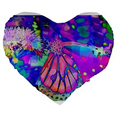 Psychedelic Butterfly Large 19  Premium Heart Shape Cushions by MichaelMoriartyPhotography