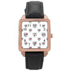 Love Ornate Motif Print Rose Gold Leather Watch  by dflcprints
