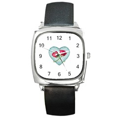 Love Ornate Motif  Square Metal Watch by dflcprints