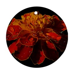Marigold On Black Ornament (round)  by MichaelMoriartyPhotography