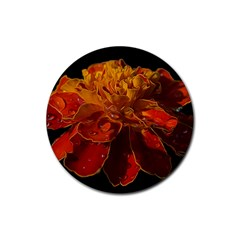 Marigold On Black Rubber Round Coaster (4 Pack)  by MichaelMoriartyPhotography