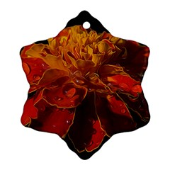 Marigold On Black Snowflake Ornament (2 Side) by MichaelMoriartyPhotography