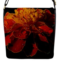 Marigold On Black Flap Messenger Bag (s) by MichaelMoriartyPhotography