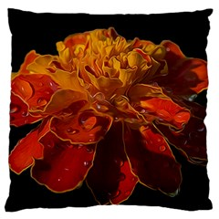 Marigold On Black Large Flano Cushion Case (two Sides) by MichaelMoriartyPhotography