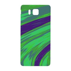 Swish Green Blue Samsung Galaxy Alpha Hardshell Back Case by BrightVibesDesign