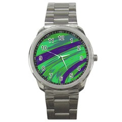 Swish Green Blue Sport Metal Watch by BrightVibesDesign
