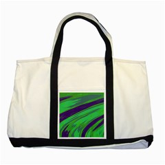 Swish Green Blue Two Tone Tote Bag by BrightVibesDesign