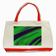 Swish Green Blue Classic Tote Bag (red) by BrightVibesDesign