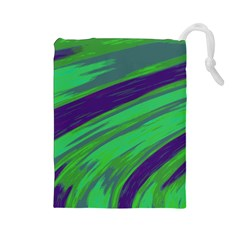 Swish Green Blue Drawstring Pouches (large)  by BrightVibesDesign