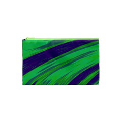 Swish Green Blue Cosmetic Bag (xs) by BrightVibesDesign
