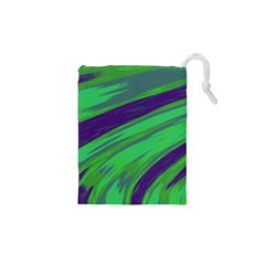 Swish Green Blue Drawstring Pouches (xs)  by BrightVibesDesign