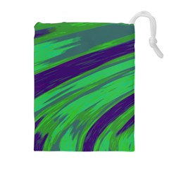 Swish Green Blue Drawstring Pouches (extra Large) by BrightVibesDesign