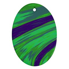 Swish Green Blue Ornament (oval)  by BrightVibesDesign