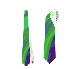 Swish Green Blue Neckties (one Side)  by BrightVibesDesign