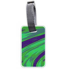 Swish Green Blue Luggage Tags (one Side)  by BrightVibesDesign