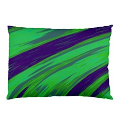 Swish Green Blue Pillow Case (two Sides) by BrightVibesDesign