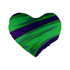 Swish Green Blue Standard 16  Premium Flano Heart Shape Cushions by BrightVibesDesign