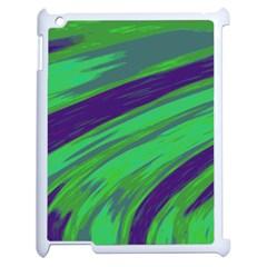 Swish Green Blue Apple Ipad 2 Case (white) by BrightVibesDesign