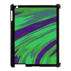 Swish Green Blue Apple Ipad 3/4 Case (black) by BrightVibesDesign