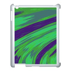 Swish Green Blue Apple Ipad 3/4 Case (white) by BrightVibesDesign