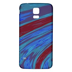 Swish Blue Red Samsung Galaxy S5 Back Case (white) by BrightVibesDesign