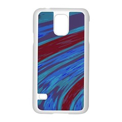 Swish Blue Red Samsung Galaxy S5 Case (white) by BrightVibesDesign