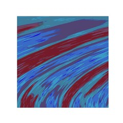 Swish Blue Red Abstract Small Satin Scarf (square) by BrightVibesDesign